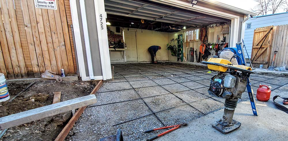 Denver concrete company, Garage floor replacement