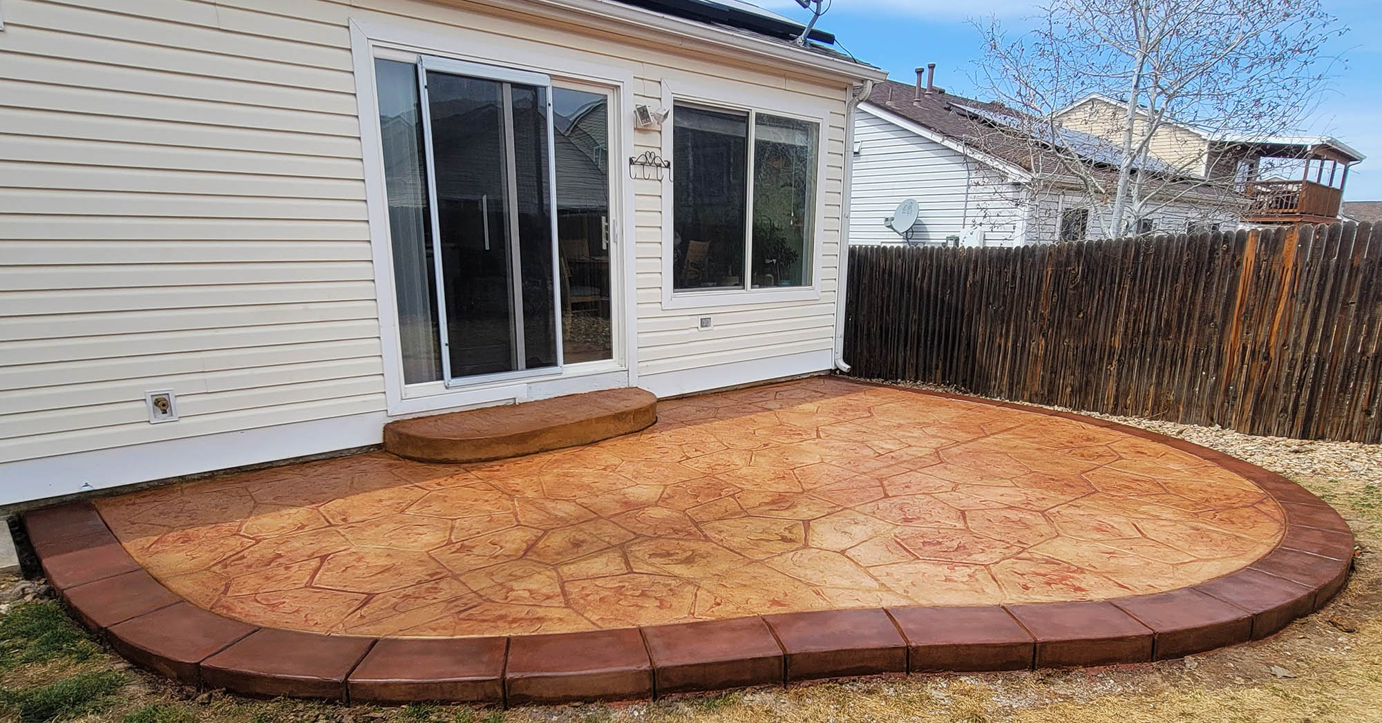 Stamped concrete patio after completion by Denver Concrete Inc
