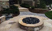 Concrete entryway and firepit