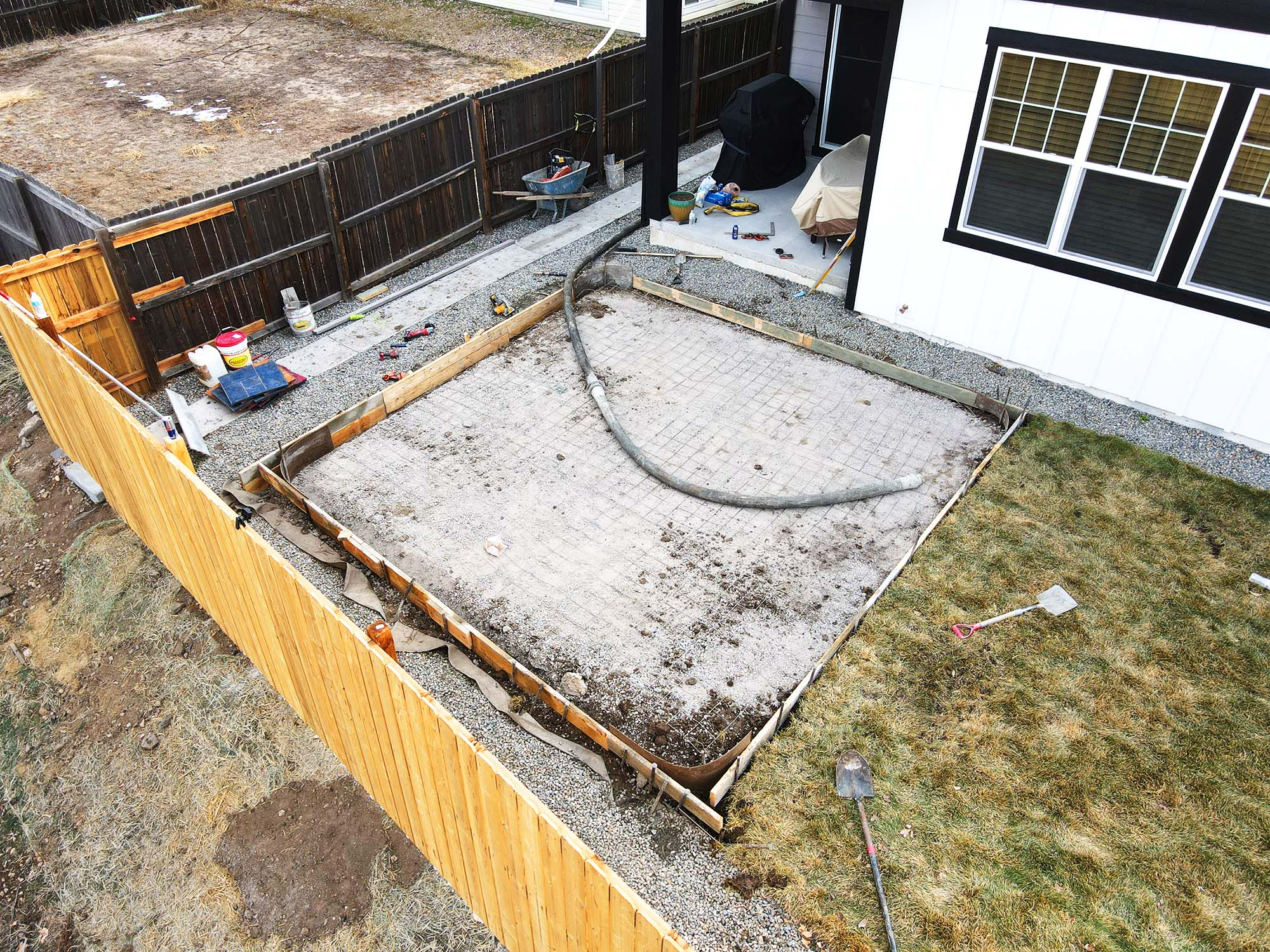 stamped concrete patio, prepared with forms and wire mesh reinforcement