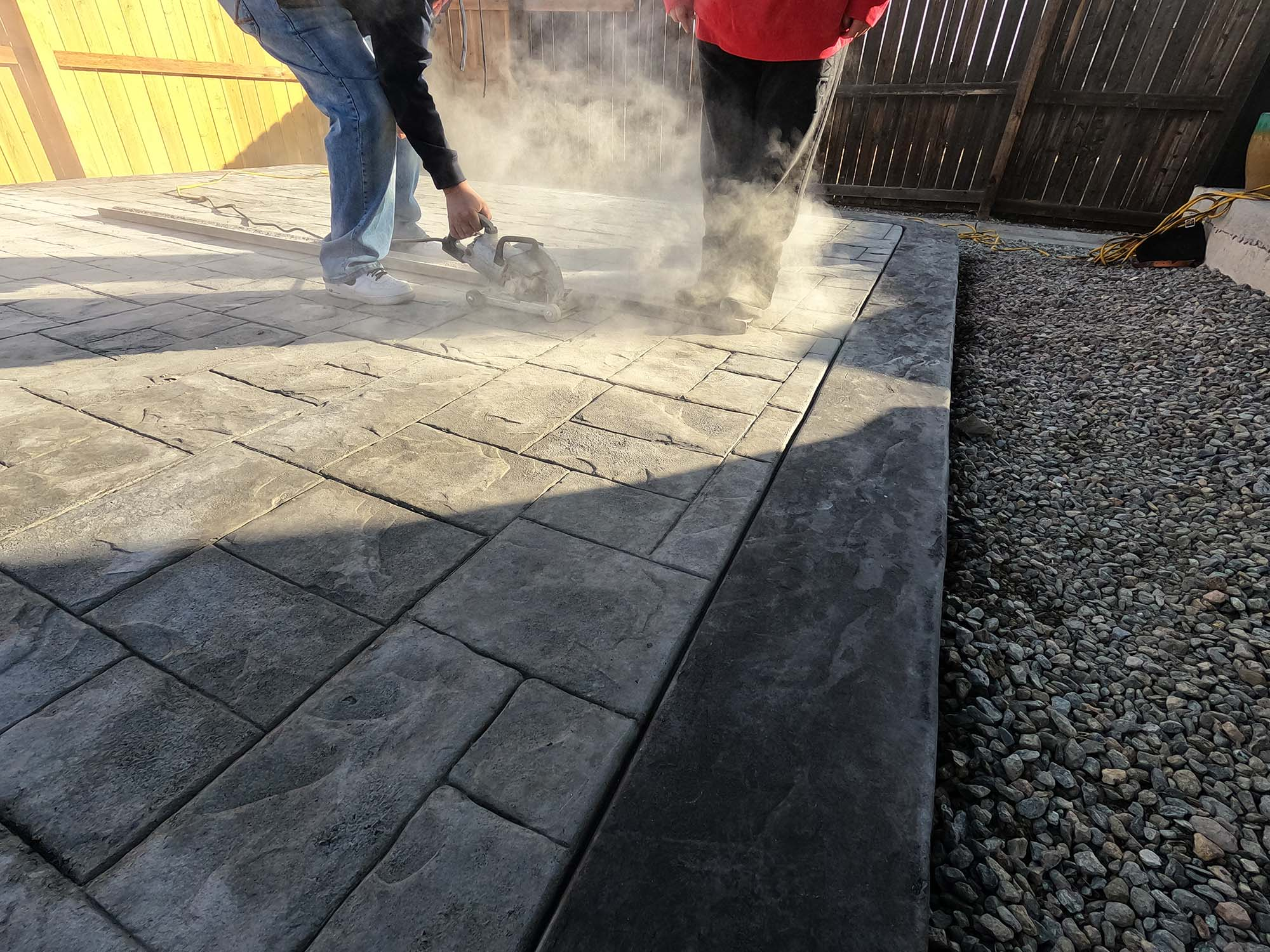 stamped concrete patio release cuts