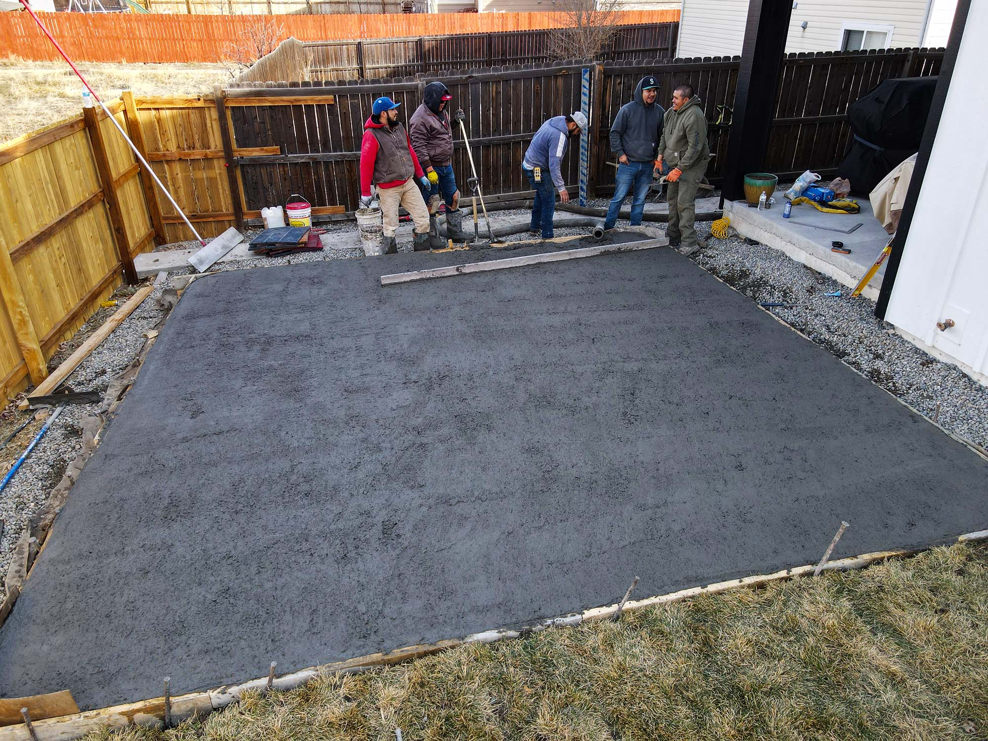 Aurora stamped concrete patio project before stamping